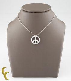74ff05316 Tiffany & Co. Metro Diamond Platinum Peace Sign Pendant w/ 16
