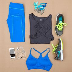 Cute workout gear: Cobalt Leggings, Top With Thumbholes, Hairbands, Nike Running Shoes, Sports Bra, Headphones