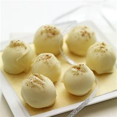 Eggnog Truffles make a great holiday or hostess gift. Package the truffles in a holiday tin between wax paper or make into eggnog pops. Yummy Treats, Sweet Treats, Yummy Food, Holiday Baking, Christmas Baking, Christmas Time, Christmas Goodies, Christmas Gifts, Candy Recipes