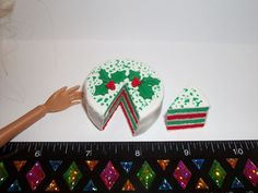 1:6 Dollhouse Miniature Handcrafted Christmas Red & Green Cake Barbie Doll Food #SweetPeaToysMiniatures