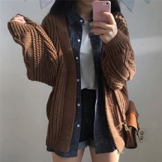 Stylish Excellent Hipster Outfits Ideas For Women To Try This Winter Cardigan Sweaters For Women, Sweater Coats, Long Sweaters, Cardigans For Women, Knit Cardigan, Women's Cardigans, Knitting Sweaters, Brown Cardigan, Winter Sweaters