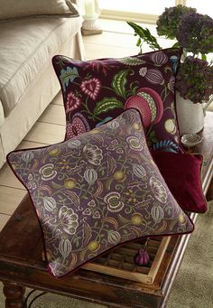 Based around archive designs reminiscent of motifs from the Arts and Crafts Movement. Arts And Crafts Movement, Drapery Fabric, Dark Colors, Color Schemes, Bed Pillows, Textiles, Vintage, Interior, Inspiration