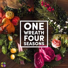 Buy one wreath and get four looks! Add gourds for fall, red berries for winter, flowers for spring, and citrus for summer. You'll be prepared for every season. #Wayfair