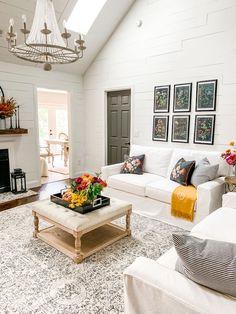 Fall Botanical Inspired Family Room #falldecor #fall Fall Living Room, Cozy Living Rooms, Living Room Decor, Living Room Inspiration, Autumn Inspiration, Large Flower Arrangements, South Carolina Homes, Color Pop, Family Room