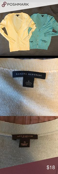 Cardigan bundle Two gently used cardigans. The blue cardigan is Ann Taylor and has adorable pockets on the front. The yellow is Banana Republic and has gorgeous stitching! Both size small.  Don't forget to bundle and save more! Banana Republic Sweaters Cardigans