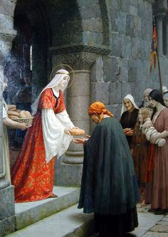 'Charity of Saint Elizabeth of Hungary' by Edmund Blair Leighton. St. Elizabeth was the daughter of the King of Hungary in the 13th century.  She is also called Saint Elizabeth of Thuringia and is the patroness of  bakers, brides, widows, countesses and the poor or homeless.