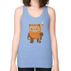 Cartoon Ewok Unisex Fine Jersey Tank (on woman)