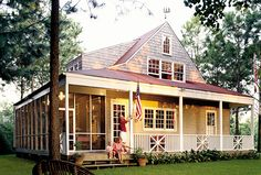 Nautical Cottage House Plan from Southern Living~~love the open living area and screened porch