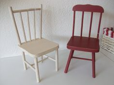 Set of 2 Vintage Toy Red and White Painted  Wood by ItemsEclectic, $22.00