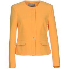 Vero Moda Blazer ($50) ❤ liked on Polyvore featuring outerwear, jackets, blazers, ocher, long sleeve jacket, blazer jacket, single breasted jacket, vero moda and orange jacket