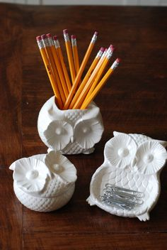 handmade modern vintage owl container trio by 2chicksandafancyowl on Wanelo