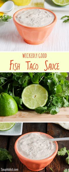 Wickedly Good Fish Taco Sauce alkergic to cilantro will use parsly low carb tacos- it's summer: fish taco bar time! And here's the best white sauce for your fish tacos. Perfectly spiced and make-ahead easy. Fish Dishes, Seafood Dishes, Fish And Seafood, Seafood Recipes, Mexican Food Recipes, Cooking Recipes, Ethnic Recipes, Fish Taco Recipes, Tilapia Recipes