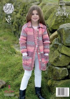 Knit Cardigan Pattern, Chunky Knit Cardigan, Jacket Pattern, Crochet Kids Hats, Knitting For Kids, Crochet Clothes, Chunky Girls, Victorian Coat, Chunky Knitting Patterns