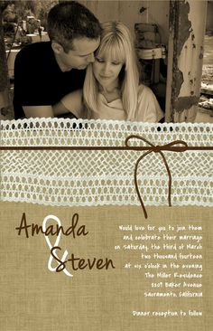 Photo Burlap and Lace Wedding Invitation