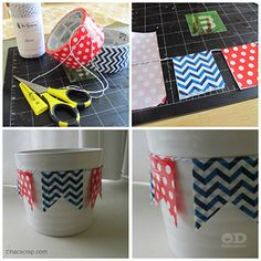 duct tape banner cup to keep things like pens and pencils in your locker or desk.