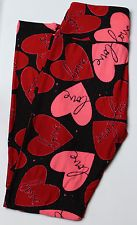 3d7fba423b630 Details about NWT LuLaRoe OS One Size Leggings Valentine's Day 2017 Black  Red Hearts Roses