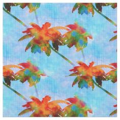 bright bold colors Palm Trees Island Tropics Repeating #Pattern #fabric for apparel, quilting and crafts