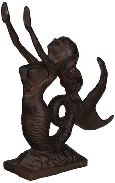 Rustic Iron Mermaid Door Stop 9' - Mermaid Decor - Nautical Decor - Beach Decor - Mermaid Decoration * You can get additional details at the image link. (This is an affiliate link) #Doorstops