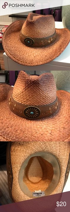Cowboy Hat with Turquoise Accent I got this cowboy hat at a Houston rodeo and I've only worn it once to that rodeo. Its super cute and the wire rim is pliable to bend to whatever shape you want. Let me know if you need anymore details in the comments below! Lonestar Accessories Hats