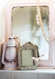 Annie Sloan Antoinette mirror and lamp #pink #vintage