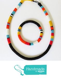 African Zulu beaded necklace and round bracelet set - Black and multicolour/orange - Gift for her Beaded Jewelry, Beaded Necklace, Jewellery, Necklaces, Band Hoodies, Bracelet Set, Necklace Lengths, Jewelry Sets, Orange