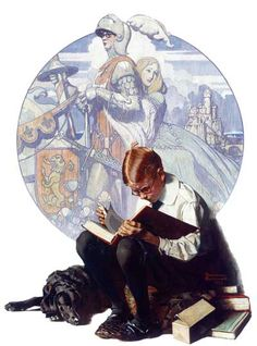 """""""Boy Reading Adventure Story, Norman Rockwell 1923 """" This painting is part of the George Lucas Collection. Norman Rockwell's work had a profound influence on Steven Spielberg and George Lucas,. Peintures Norman Rockwell, Norman Rockwell Art, Norman Rockwell Paintings, Art And Illustration, Illustrations, Reading Adventure, Adventure Stories, Inspiration Art, Oeuvre D'art"""