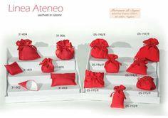 """https://mercantedisognivoghera.blogspot.it/2016/11/collezioni-la-ateneo-laurea-tessuti.html   Collezioni L'A Linea """"ATENEO - LAUREA"""" Accessori in tessuto rosso cotone e shantung   SACCHETTI TRE MISURE FONDO PIATTO E TONDO CARAMELLA - POCHETTE - CONO - CUSCINO"""