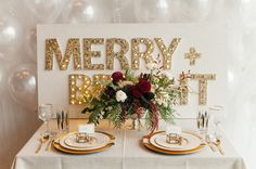 Gold + burgundy holiday tablescape