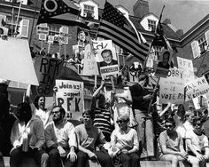 Student rally on steps of Baker Center (Old), 1968.