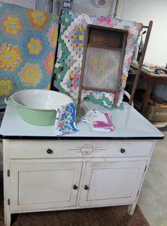 1930's enamel top laundry cabinet