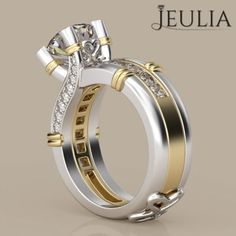 360 View of Interchangeable Two-tone Round Cut Created White Sapphire Rhodium Plated Sterling Silver Women's Ring