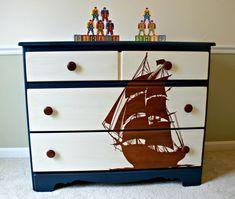 Pirate Ship Stencil Blue Dresser/Kids Bedroom Furniture/Boy Furniture/Toy Chest on Etsy, $325.00
