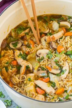 Asian Chicken Noodle Soup | Cooking Classy (ramen noodle bowl. Use my ramen noodles and sub honey for sugar)