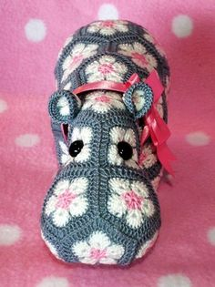 The Happy Hippo Crochet African Flower Free Pattern - Crochet Craft, Crochet Hippopotamus, Pink Bow