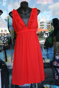 "www.ladywatego.com  Sexy red ""Copacabana"" dress by Lady WATEGO Byron Bay Surf Outfit, Clothing Labels, Byron Bay, Beach Dresses, Beachwear, Surfing, Summer Outfits, Beach Playsuit, Clothing Tags"