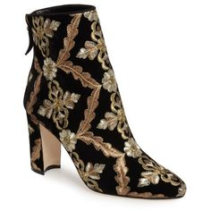 Women's Manolo Blahnik Isola Brocade Bootie (6.630 DKK) ❤ liked on Polyvore featuring shoes, boots, ankle booties, black multi brocade, embroidered booties, block heel ankle boots, short boots, black bootie boots and black boots