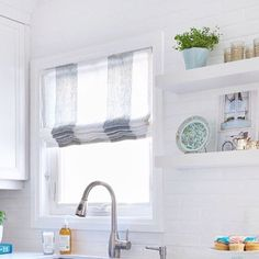 """Roman shades?  We make them to fit inside your frames with only 1/8"""" clearance.  Sheer?  No problem!  We can voile line them to preserve that light ethereal feel.  This beautiful Roman shade and kitchen designed by @figinteriors shines on this dreary Sunday!"""