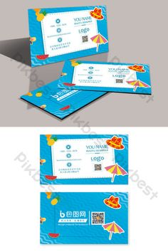 Simple, small and fresh blue tourism travel company business card#pikbest#templates