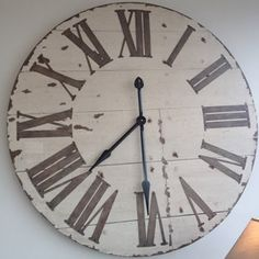 Extra large Vintage Cream Wood Wall Clock