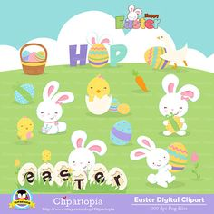 "Easter digital clipart  ""EASTER CLIPART""  Easter rabbit clip art , Easter bunny clipart, Easter Egg Clipart /instant download on Etsy, $5.00"