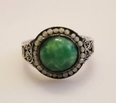 Vintage Chinese Jade & Seed Pearl Silver Ring by orlysvintageplace, $69.00