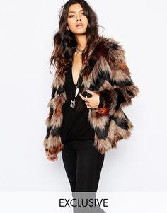 Faux London Fluffy Faux Fur Midi Coat In Chevron