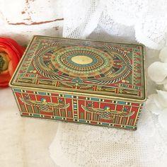 Gorgeous Antique Egyptian Revival Tin Litho Box Vintage Advertising Canco Beautebox Biscuit canister Art Deco Phoenix Hieroglyphics by WonderCabinetArts