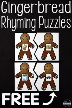 Adorable and free Gingerbread Men Rhyming Puzzles! A great rhyming game for winter break fun!