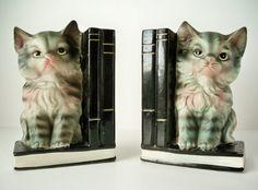 1950s Vintage Kitty Cat Bookends by VintageFindsbySuzi on Etsy, $18.00