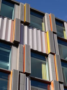 Folding/Sliding shutters made ​​of perforated aluminum at the Children and Heart Institute in Innsbruck | Architect: Nikl