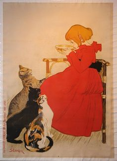 Most of my readers are likely already familiar with the Art Nouveau poster art of Théophile Alexandre Steinlen . Art Nouveau Poster, Poster Art, Retro Poster, Kunst Poster, Poster Prints, Vintage French Posters, Vintage Ads, French Vintage, French Wine