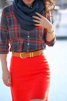 Red pencil skirt + plaid long sleeve button-up