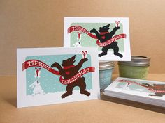 Merry Christmas Bear and Rabbit hand-silkscreened note card