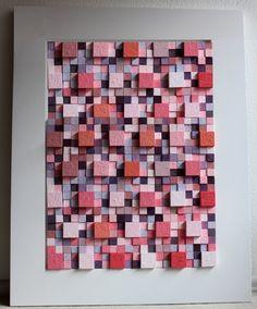 """""""colores 60 rosas"""" construccion de cubos de madera de diferentes tamaños sobre marco de madera 105cm por 85 cm."""""""